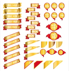 Sale gold ribbons isolated on white background vector image