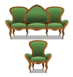 Vintage green furniture armchair and sofa vector image