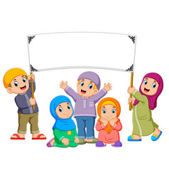 A family are playing and holding blank banner vector