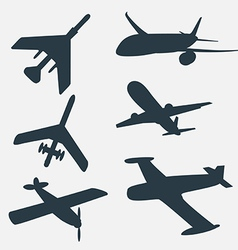 A group of planes in all different angles vector image