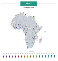 Africa map with location pointer marks vector