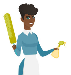 African housemaid holding spray bottle and duster vector