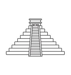 Ancient civilization el castillo pyramid line art vector