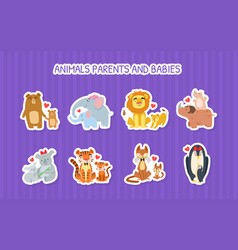 animals parents and babies stickers set lion vector image