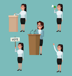 Background scene set people female in formal suit vector
