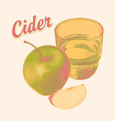 Banner for cider with apple glass and inscription vector