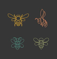 Bee logo design icon set vector