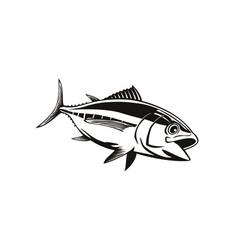 Bigeye tuna thunnus obesus swimming down retro vector