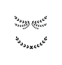 Black wreath divider set - isolated arched laurel vector