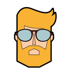 blond man face cartoon vector image