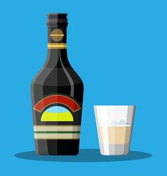 bottle of chocolate coffee cream liquor and glass vector image