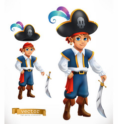 Boy pirate 3d icon vector