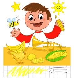 Boy with yellow objects vector