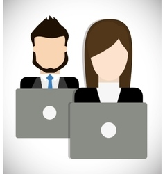 Businesspeople with laptop icon Business design vector