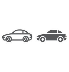 Car line and glyph icon traffic and vehicle vector