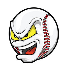 Cartoon baseball angry face vector