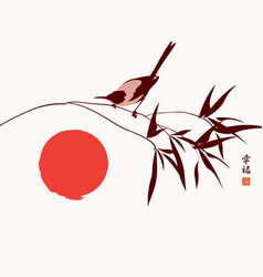 Chinese banner with magpie on a branch and red sun vector