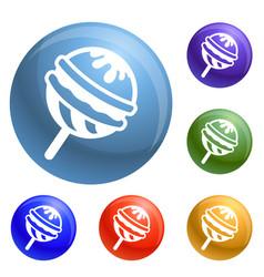 Choco lollipop icons set vector