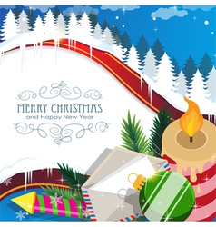 Christmas decorations on winter forest vector image