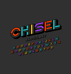 colorful chisel font design alphabet letters and vector image