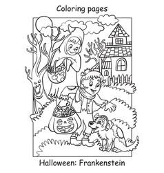 Coloring halloween cute children in costumes vector