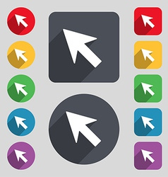 Cursor arrow icon sign A set of 12 colored buttons vector image