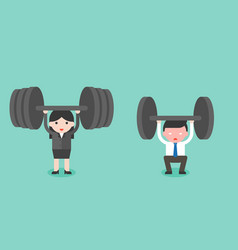 cute businessman and businesswoman try to lift vector image