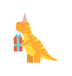 Cute dinosaur in party hat holding gift box vector