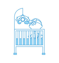 cute girl cot baby shower and toy mobile furniture vector image