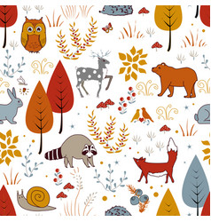 Cute seamless pattern with forest plants birds vector