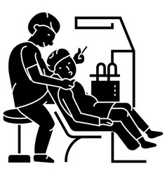 Dentist working patient stomatology icon vector