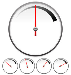 dial templates for gauge concept set at 5 stages vector image