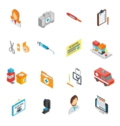 Doctor Icon Isometric Set vector