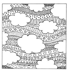 doodle summer sky with ornaments hand drawn vector image