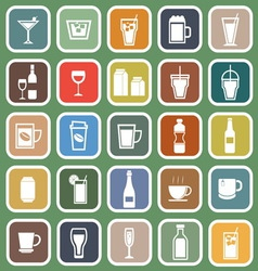 Drink flat icons on green background vector