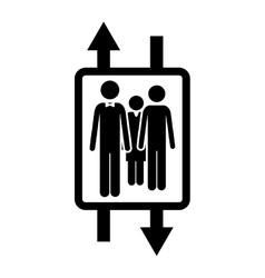 Elevator monochrome logo with arrow up and down vector