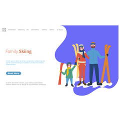 Family skiing activities in winter season web page vector