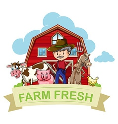 Farmer and farm animals with banner vector