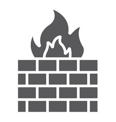 Firewall glyph icon fire and security wall sign vector