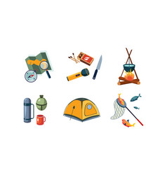 fishing and camping icons set map compass vector image
