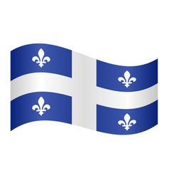flag quebec waving on white background vector image