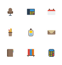 Flat icons calculate date bookshop and other vector