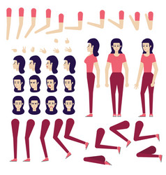flat woman creation set vector image