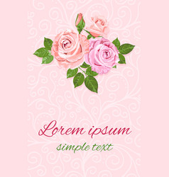 floral pink and beige roses design for wedding vector image