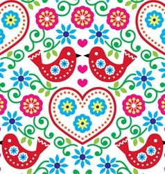 Folk art seamless pattern with flowers and birds vector