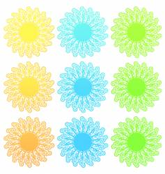 funky retro floral sun set vector image