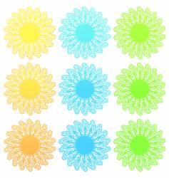 funky retro floral sun set vector image