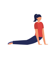 girl doing yoga pose design vector image