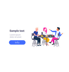 Group of college students eating lunch together vector