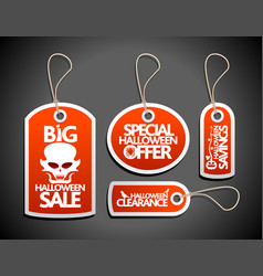 halloween sale tags set red vector image